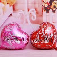 "Creative 50pcs/lots wholesales 18 inch heart shape foil balloons , wedding helium balloon , "" I LOVE YOU ""word bauble"