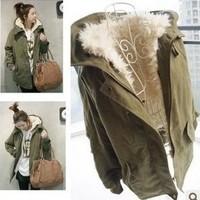 2013 winter casual berber fleece liner wool overcoat outerwear wadded jacket women's thickening medium-long