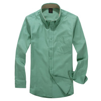 Autumn 100% male cotton long-sleeve shirt sanded thickening solid color fashion colored cotton shirt smoke green