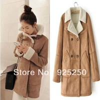 suede leather jacket women  winter autumn faux  fur  coat  fashion 2013 warm long sleeve  fleece lining khaki color long sleeve