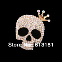 2014 Brand Design Crown Brooch,18K Gold Luxury Crystal Punk Skull Brooch For Women Dress Corsage