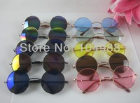 Hot Wholesale Unique Design Unisex Fashion Prince Round Lenses Sunglasses Mirrored lenses Sunglasses Many Colors to choose