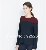 blouse for women autumn winter fashion 2013 European style patchwork vintage navy color sexy O neck long sleeve shirt top
