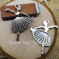 Wholesale 200pcs/lot  36*26mm dancing girl fashion silver pendant for bracelet/necklace DIY Jewelry Making accessories
