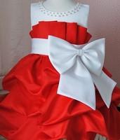 Retail girl birthday dress 2014 children girls big bow dress Princess party dress chiffon Big bowknot dresse for summer