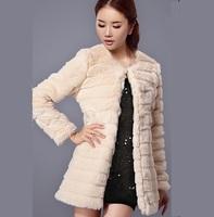 Winter women's  faux medium-long outerwear high quality elegant eco-friendly super warm wool overcoat