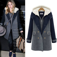 The new 2013 Long overcoat female double breasted woolen metal buttons outerwear female
