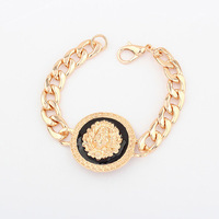 Free Shipping Hot Selling Fashion Brand Gold Filled Lion Head Bracelet Lionhead Bangle Brand Jewelry Rock Celebrity StyleA2022