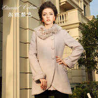 Eternal color wool winter coat luxury rabbit fur wool slim wool coat outerwear e42334