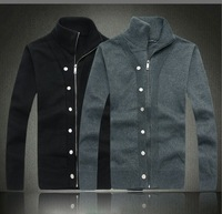2013 men's cardigan sweater coat thick collar casual men's sweater decorative buttons