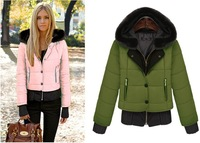 Fashion New 2013 winter all-match candy multicolour long-sleeve slim women's wadded jacket with a hood cotton-padded