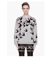 autumn and winter top new arrival fw swallow flock printing stereo print thickening sweatshirt