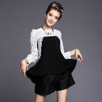 FREE SHIPPING 2014 halter deep V cross back folds Chiffon Blouse 6 yards full