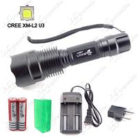 High Cost Performance ~ UltraFire C12 CREE XM-L2 U3 3M(Hi-Me-Lo) LED Flashlight 1800LM LED Torch Set + Battery + Charger