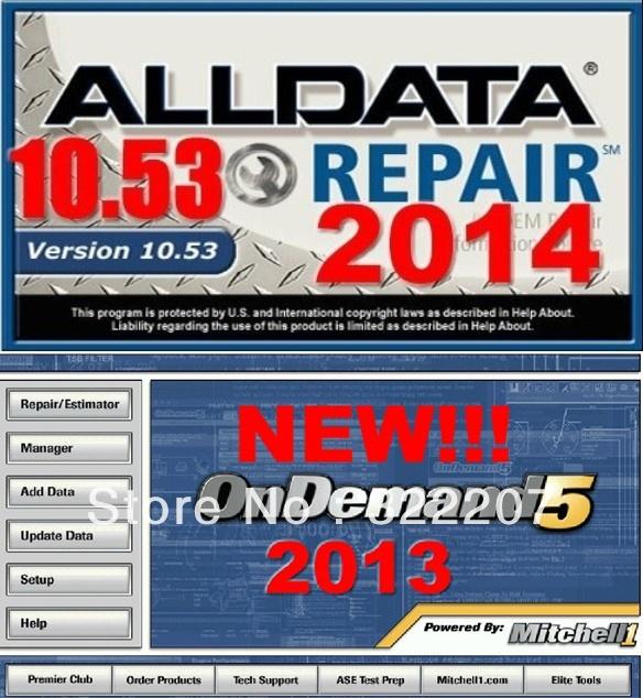 Best v10.53 Alldata 2014 All data and 2013 Mitchell OnDemand5 Repair & Estimator auto car truck software 750G(China (Mainland))