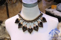 2014 New Style Beaded Crystal Lacing Leaf False Collars Black Metal Sweater Necklace For Women Fashion Jewelry Wholesale