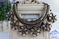 2014 New Arrival Vintage Fashion Metal Flower Beaded Crystal Decoration Necklace False Collar For Women Female Gift Wholesale