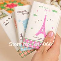 2013 New arrival korean fashion kawaii pink paris eiffel tower canvas pvc women credit card holder bank card wallet clutch bags