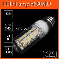 220V 1Pcs/Lot Indoor Use, led bulb lamp Corn Bulbs E27 5730 36LEDs Lamps 5730 SMD 12W,Warm White/White Energy Efficient