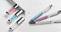 Free shipping best gift crystal usb flash pen drive gift (Buy usb send ballpoint pen)