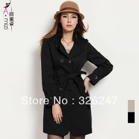 Honey fashion women's new arrival 0279 ol elegant stand collar double breasted long trench outerwear design female