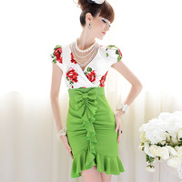 2013 summer new arrived green with red flower slim bow ruffle skirt bubble short-sleeve women's dress