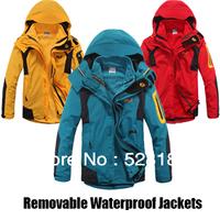 Free Shipping,Fashion Brand,Men's Waterproof Sportswear,Professional outdoor clothes,Removable Waterproof Jackets,Fleece liner