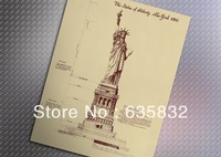 55*42cm Statue of Liberty Retro Poster Matt Kraft Chirstmas Gift Vintage Ads Painting Decorative Sticker 2pcs