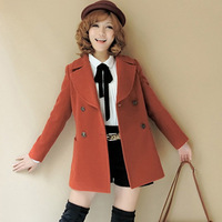 Autumn Winter 2013 new fashion Dust coat Hot sale women's slim double-breasted trench coat wind long outwear turn-down collar
