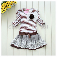 supernova sale cotton striped girls Princess dress Fly sleeve design girl's dresses Baby cloth children clothes