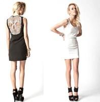 2013 Women Fashion Dress Lady Punk Gothic Unique Hollow Back Fitness Vest Clubwear Skull Dresses S M L Free Shipping