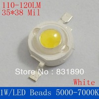 Freeshipping 50PC/Lot 1W power lamp beads  LED 110-120LM chip 35x38mil (3.2-3.6V) White5000-7000k led beads for led Light source