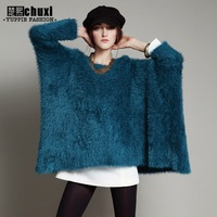 Fashion batwing sleeve sweater outerwear female pullover loose medium-long plus size irregular thick knitted sweater