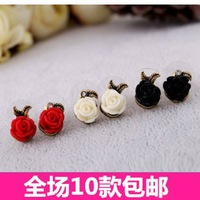 Fashion accessories vintage asymmetrical rose stud earring female small accessories