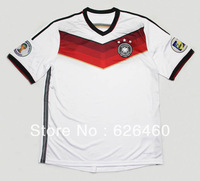 Free Shipping 2014 World Cup in Brazil, Thailand, Germany home white jersey quality A + + + Thailand quality soccer jersey