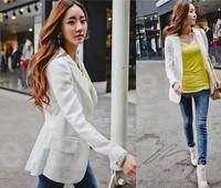 women's blazer medium-long plus size white chiffon female blazer outerwear slim suit