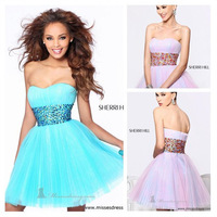 Lovely Pleated Tulle Short Cocktail Dress Fashion A-line Mini Sweetheart Beaded Prom Party Dress B310