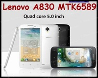 black white 52 languag free shipping airmail 5 inch Original Lenovo A830 phone Quad-core CPU 4GB ROM 1GB RAM 8.0M Camera
