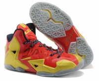 Free Shipping Cheap Lebron 11 XI true red yellow Men's Athletic Basketball Shoes for sale lbj 2013 designer wholesale  41-46