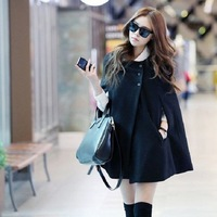 Korean Women Batwing Wool Casual Poncho 1pc/lot Winter Coat Jacket Free Shipping Loose Cloak Cape Black Outwear 653575