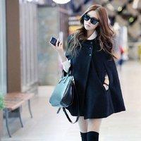 Korean Women Batwing Wool Casual Poncho 1pc/lot Winter Coat Jacket Free Shipping Loose Cloak Cape Black Outwear AY653575