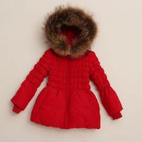herroyal 's top girls clothing of luxury raccoon fur medium-long ultralarge girl down coat