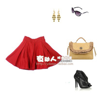 Spring and autumn all-match pleated royal princess half-length woolen short skirt