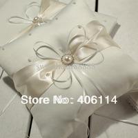 MIC Ivory Ribbon Pearl Wedding Ceremony Satin Ring Bearer Pillow 101401
