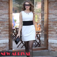 2013 New Spring And Summer Dress neck-neck Temperament Of Cultivate One's Morality Joker Fashion Dress  Free Shipping 05231