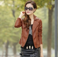 2013 spring and autumn women's motorcycle PU clothing female short design slim coat jacket plus size