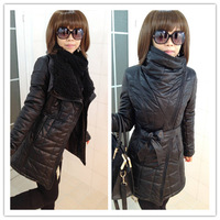 2013 winter women's PU female medium-long leather clothing wadded jacket fur collar slim plus size cotton-padded coat