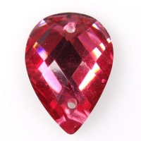 120pcs/lot Newest Hot Faceted Drop Red Resin Charms Sew-on Flatback Embellishments Fit DIY Jewelry 14*10*3mm 241110