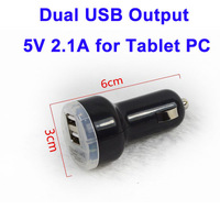 Free Shipping by DHL, Hot Selling 5V 2.1A & 5V 1.0A Dual USB Car Charger for Tablet PC, Mobile, GPS, Black / White Car Charger
