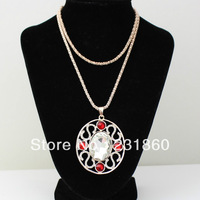 1 pc Fashion Design White And Red Rhinestone Crystal Necklace Pendant Jewellery